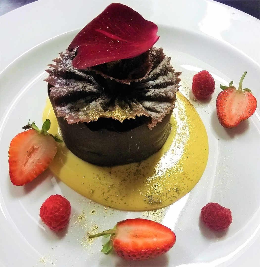 Chocolate dessert with strawberries