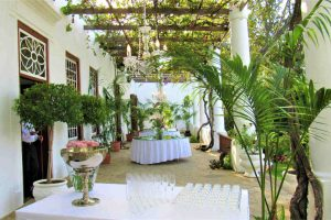 Veranda with wedding plant decor