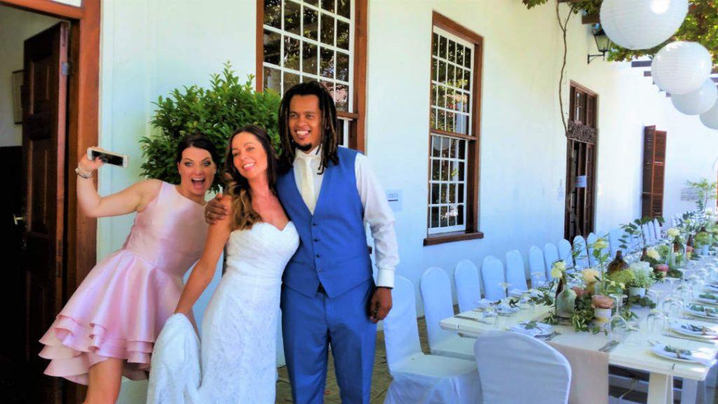 Happy Wedding couple at Welgemeend Venue Cape Town